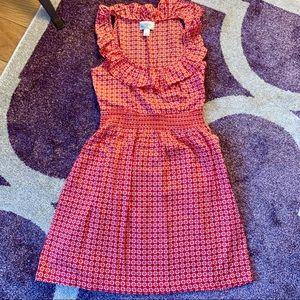 Ann Taylor Loft Red Ruffle Neck Fit & Flare Dress